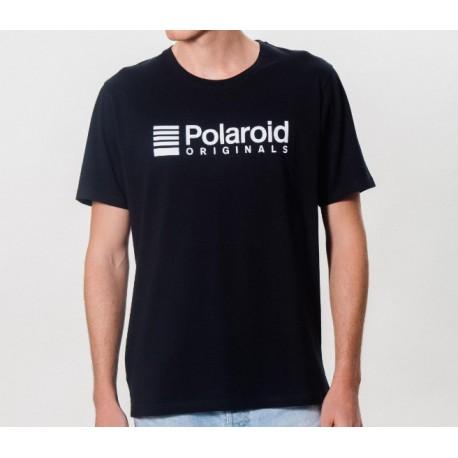 Camiseta Polaroid Originals Negra Logo Blanco