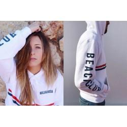 Sudadera Malvarrosa Beach Club Blanca con capucha a la venta en El Miracle tienda Valencia.