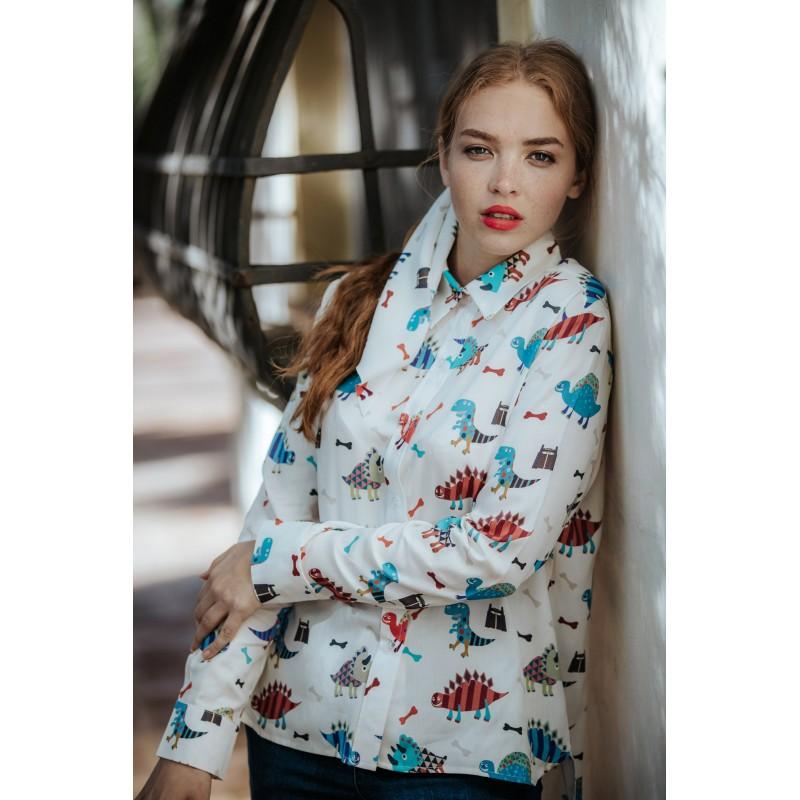 Camisa Blanca Dinosaurios Bonica In Love, a la venta en El Miracle ,  tienda boutique en Valencia.